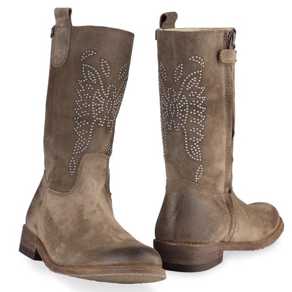 Cowboy Laarzen Clic! - Bruine suède laarzen met studs | Boeties.nl