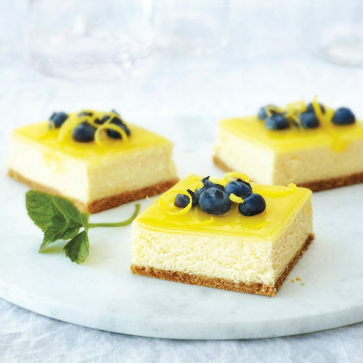 Brighten up any Easter get-together with these delicious Double-Lemon Cheesecake Bars :) #recipe #dessert