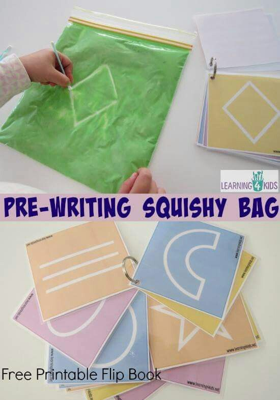 Pre writing squishy bag (I would use letters/numbers/simple shapes. Some of the cards look overly complicated.)