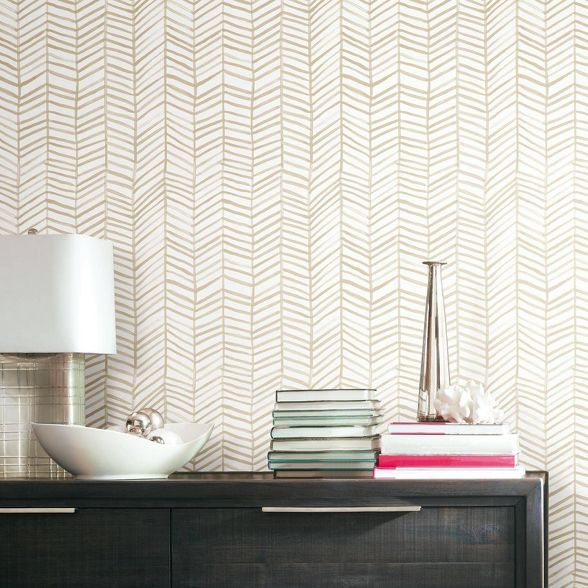 Roommates Cat Coquillette Tan Herringbone Peel And Stick Wallpaper In 2020 Peel And Stick Wallpaper Room Visualizer Wallpaper Roll