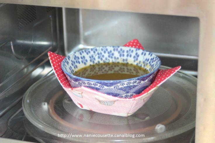Idée couture : les maniques pour bol ! Le tuto est donné dans un autre post de la blogueuse ! (Merci Anne Marie!)