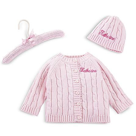 Cable Sweater, Hat and Hanger Set Sweater Hat and Hanger Set