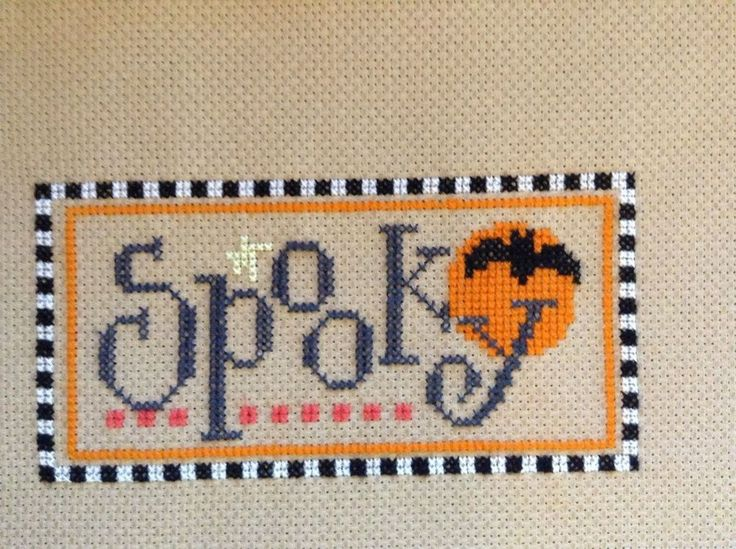 completed cross stitch Lizzie Kate Halloween Spooky
