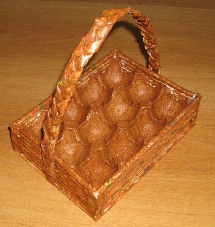 Корзинка для яиц из газетных трубочек