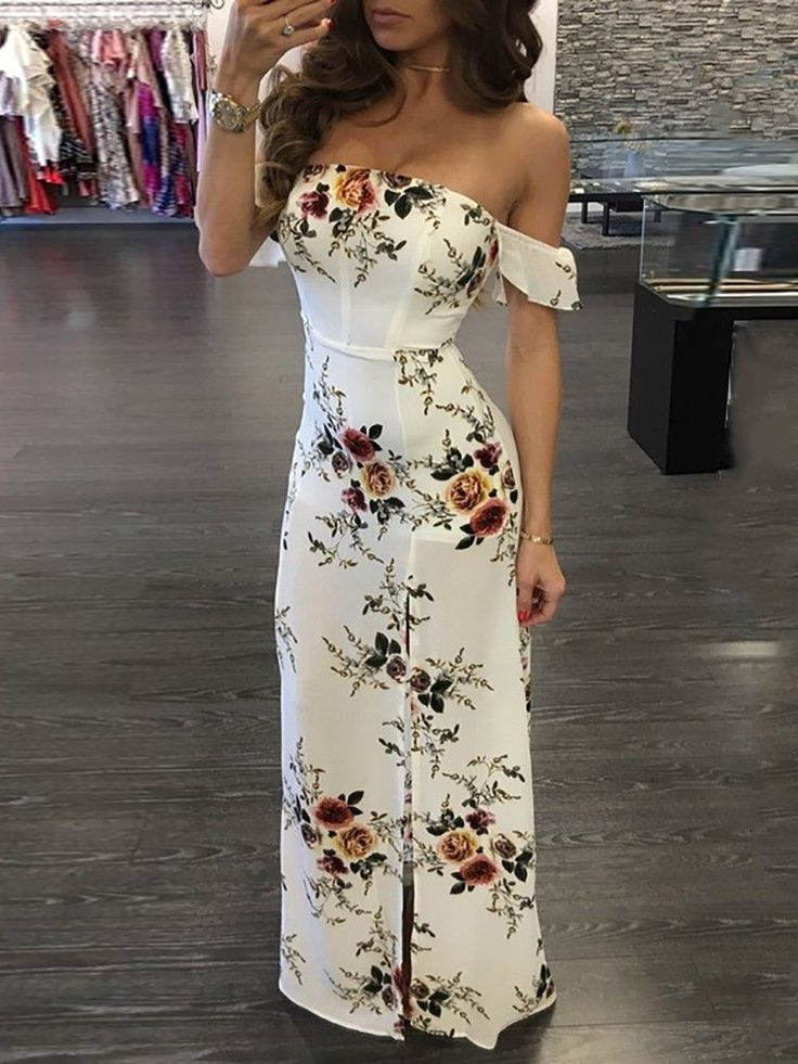 Stylish Floral Printed Off Shoulder Front Slit Maxi Dress