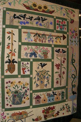 Vermont Quilt Festival, 2011 Beautiful rendition of Primitive Garden Quilt by Primitive Gatherings Quilt Shop https://www.primitivegatherings.us/shop/product/305-a-primitive-garden.html