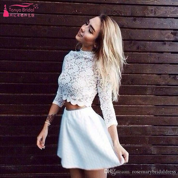 High Neck Long Sleeve Homecoming Dresses Two Pieces Prom Dresses Lace Short…