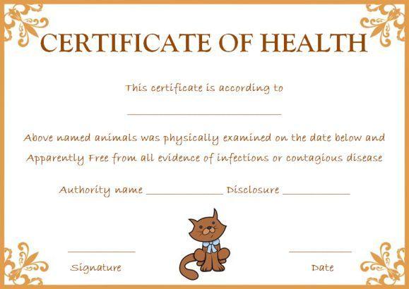 Pet Health Certificate Template 9 Word Templates To For Veterinary Health Certificate Tem Certificate Templates Certificate Of Recognition Template Pet Health