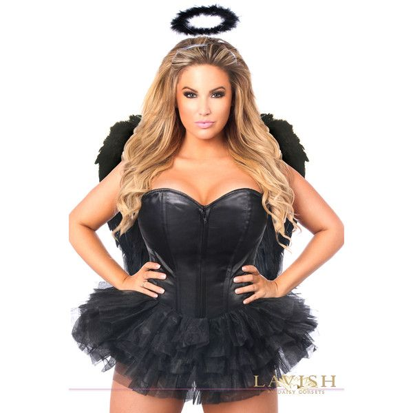 Plus size flirty dark angel corset costume (£97) ❤ liked on Polyvore featuring costumes, black, plus size, angel halloween costume, plus size halloween costumes, angel costume, angel wing costume and womens plus costumes