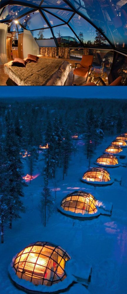 Admire the northern lights and the millions of stars from your private glass igloo at Hotel Kakslauttanen, Finland.