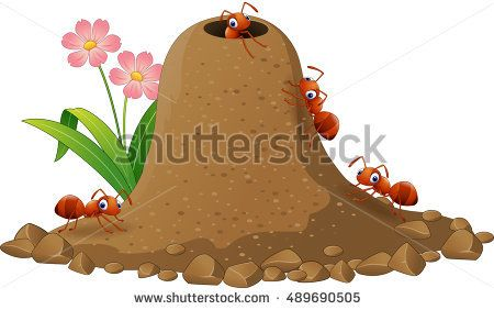 Cartoon ants colony and ant hill