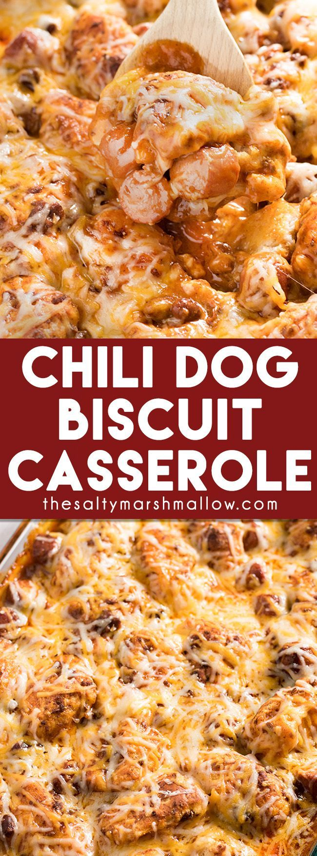 Chili Dog Biscuit Casserole: This Chili Dog Casserole is a quick and easy weeknight dinner recipe filled with biscuits, chili, hot dogs, and cheese! A delicious comfort food dinner recipe that is perfect for the whole family. This is an exclusive limited edition engraving only sold