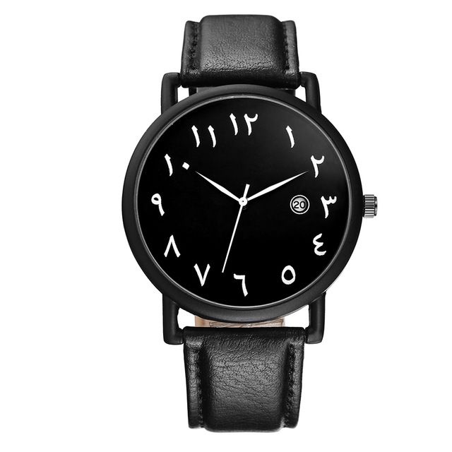 Rare Offer $6.95, Buy BAOSAILI Arab Numbers Scales Men Watch Big plate White Black PU leather watch with Calender BSL1034