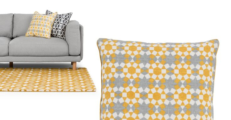 Tesserae 100% Linen Cushion 50 x 50cm, Ash Grey and Gold | made.com