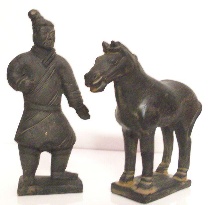 Statuette Cinesi in Terracotta Esercito di Terracotta Guerrieri Cavallo Xi-an