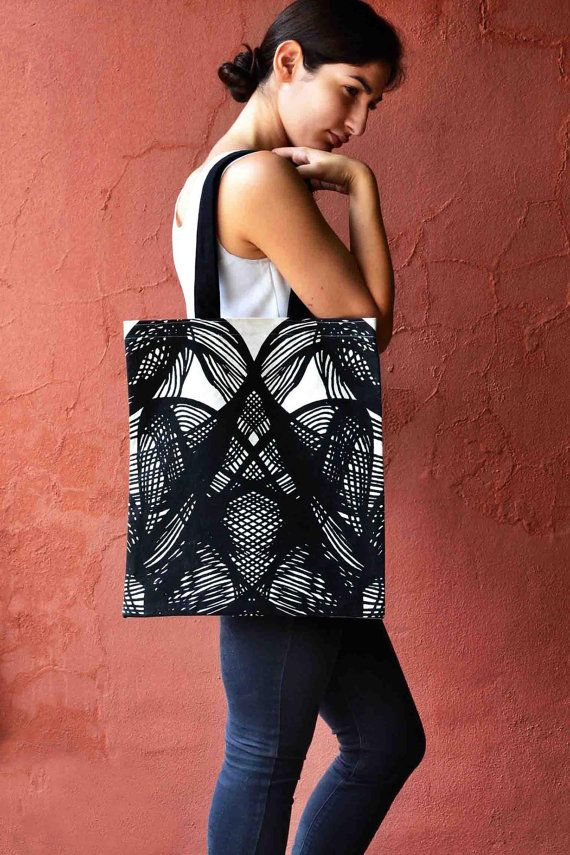Screen Printed Canvas tote bag w. Hand drawn Black by LauraNadile, $40.00