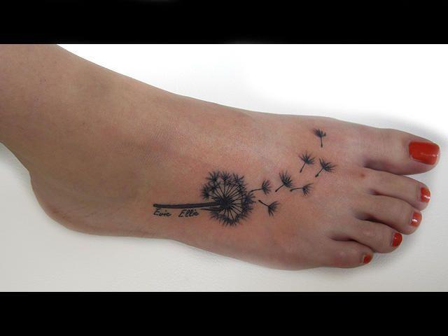 Image result for dandelion foot tattoo
