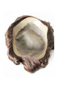 German net base with PU front and coat on side and back men's hair replacement system men's toupee