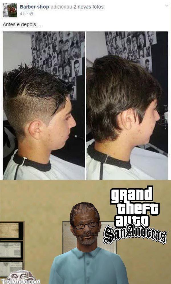 Cortou no cabeleireiro do Gta