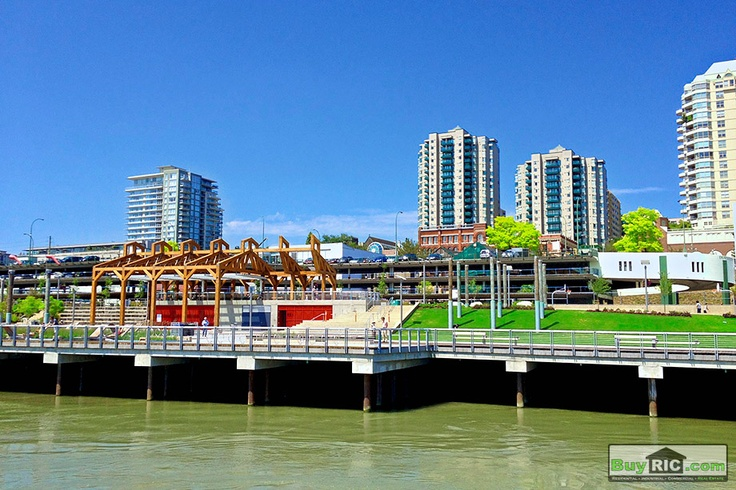 Westminster Pier Park, view from the Fraser River. New West