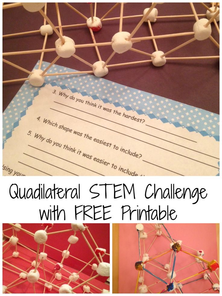 Practice building quadrilaterals with this fun STEM challenge. Students are required to design a structure with a kite, trapezoid, parallelogram, rhombus, rectangle, and square in it. Directions and FREE printable included.
