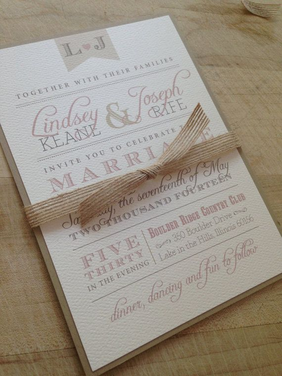 This design features beautiful unique typography with rustic flare. Our elegant wedding stationery is digitally printed on thick, 110# cover weight