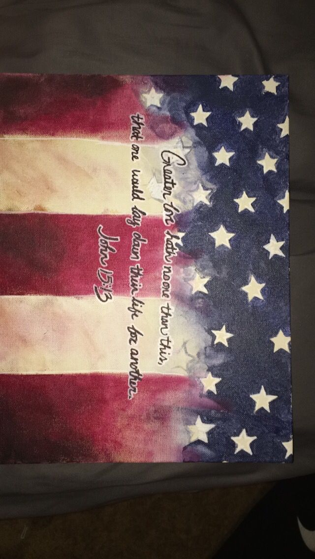 American flag canvas DIY painting with bible verse