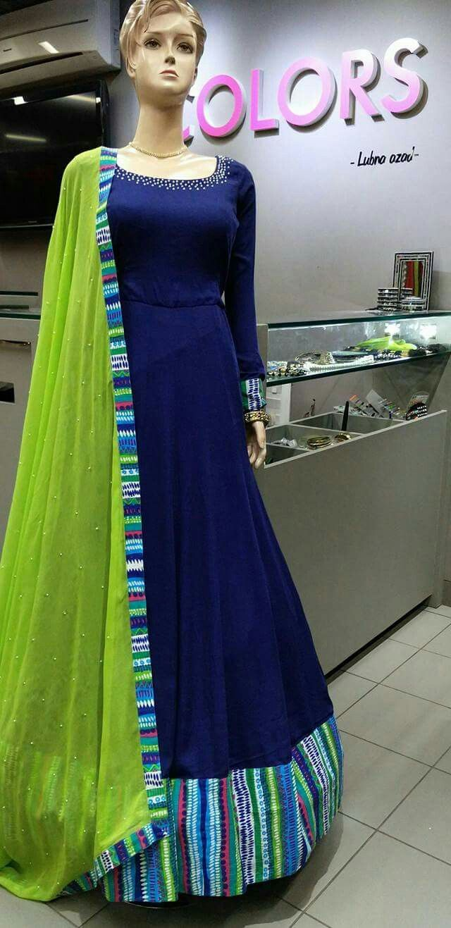 Long blue dress with green dupatta