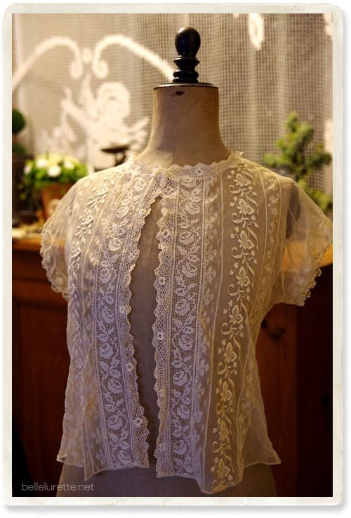 アンティークチュールレースブラウス - 【Belle Lurette】ヨーロッパ フランス アンティークレース リネン服の通販