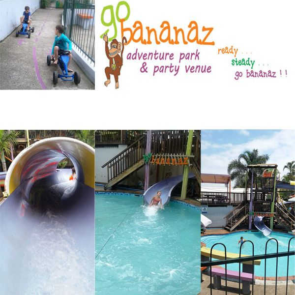 At go bananaz we have a whole range of activities to suit the very young kids up to the 12 year old. From swinging to swimming we have it all. An awesome fun outdoor adventure park.
