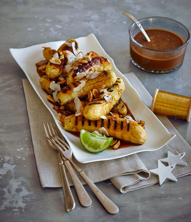 Grilled sugar bananas with coconut caramel sauce :: Gourmet Traveller Magazine Mobile