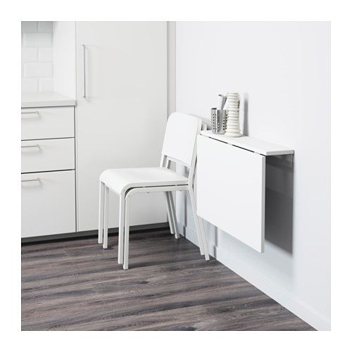 NORBERG Wall-mounted drop-leaf table IKEA Becomes a practical shelf for small things when folded down.