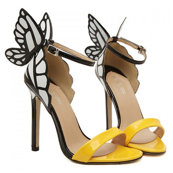 Trendy Butterfly Wings and Color Block Design Women's Sandals