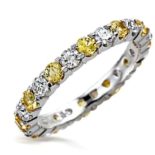 Yellow Canary Diamond Cz And Clear Stackable Eternity Band Ring