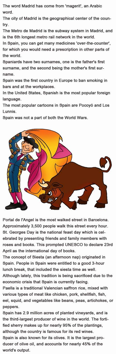 Fun facts about Spain for kids http://firstchildhoodeducation.blogspot.com/2013/10/fun-facts-about-spain-for-kids.html