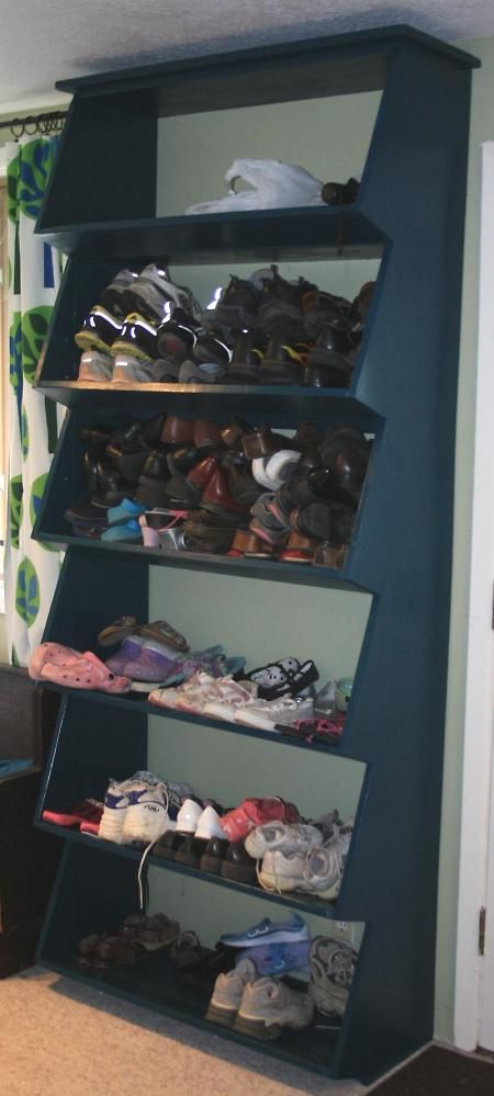 diy shoe shelf with angled front shelf smaller version would work