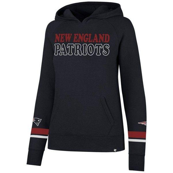 '47 Brand Women's New England Patriots Throwback Hooded Sweatshirt ($85) ❤ liked on Polyvore featuring tops, hoodies, navy, hoodie top, navy blue hoodie, navy long sleeve top, navy blue hoodies and sweatshirt hoodies
