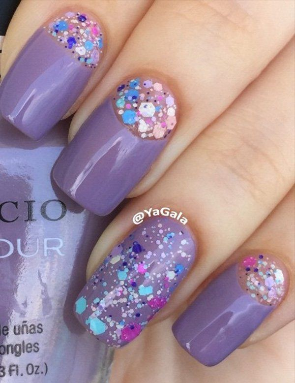 If you want a bit of a girly design, this purple nail polish with rhinestones is perfect for you. Instead of leaving the half moon transparent, you can put some rhinestones on it for more life and fun.