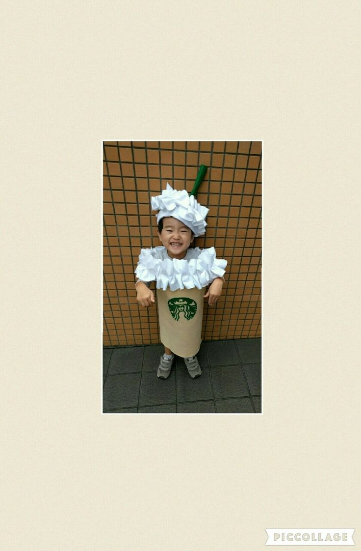 今年のキッズハロウィン仮装は大人気のスタバ風フラペチーノで決まり☆ママは店員風エプロンでリンク♡作り方を詳しくご紹介♡