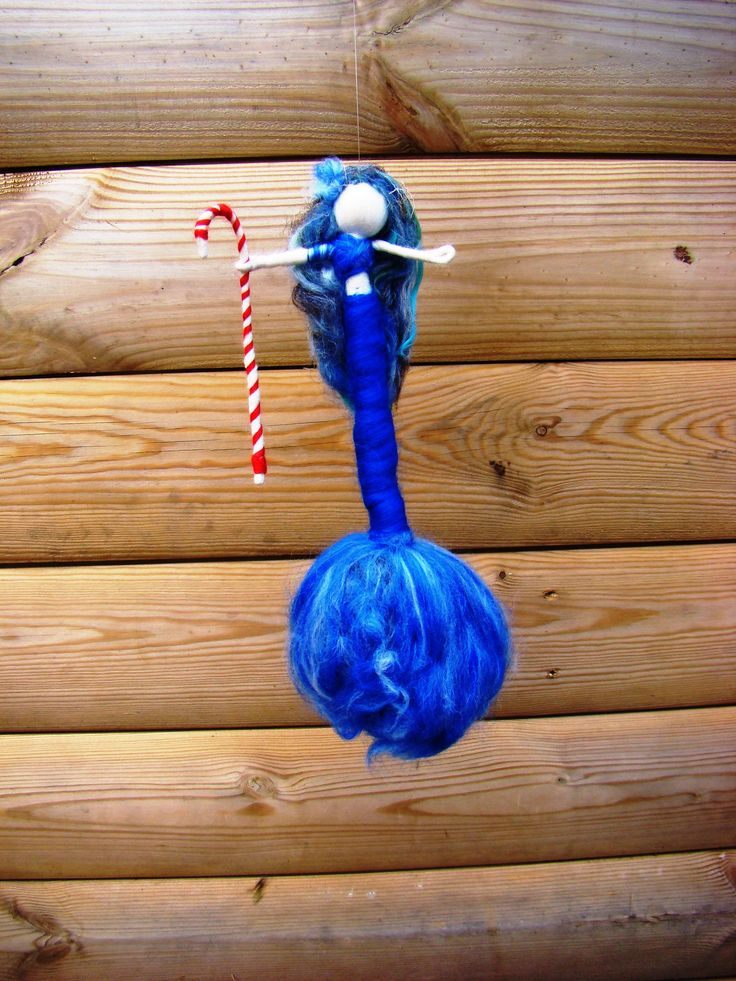 blue Christmas mermaid , felted blue mermaid, Waldorf toys, pagan gift blue felted siren doll magic wool mermaid, candy cane mermaid gift uk by elfkendalfairies on Etsy