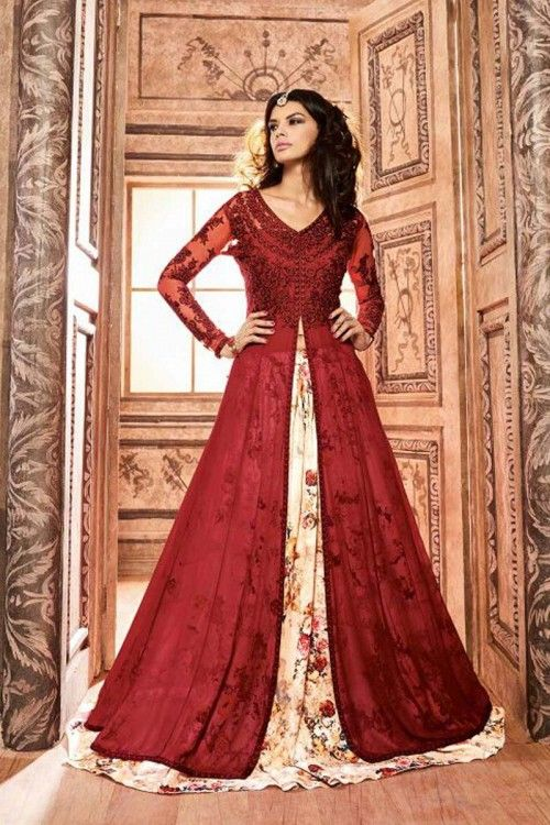 Maroon Silk Anarkali Style Gown Online  http://www.andaazfashion.co.uk/salwar-kameez/anarkali-suits/bridalwear