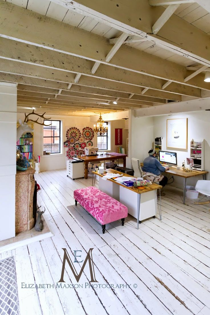 The Adventures of Elizabeth: Tickled Pink, quilt studio space, old renovated dairy barn, Tula Pink..