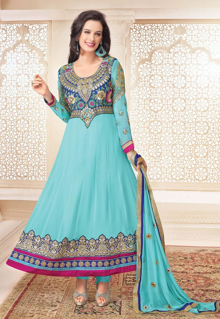 #AquaBlue Faux #Georgette #Anarkali Churidar Kameez