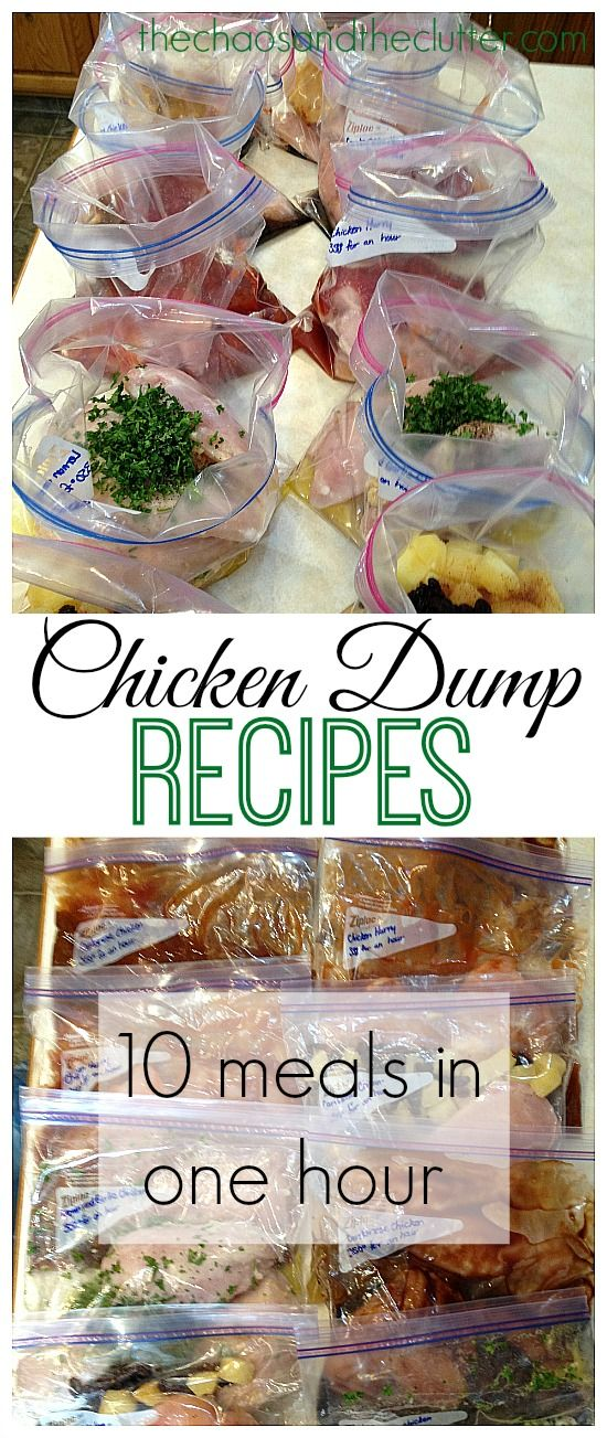 CHICKEN DUMP MEALS (thechaosandtheclutter) FRENCH CANADIAN CHICKEN chicken boneless/skinless (3-5 breast or 8-10 thighs), 1/2c maple syrup, 3Tbsp cider vinegar, 3 garlic cloves-mince, 3Tbsp soya sauce, 3tsp fresh grated ginger, 1tsp pepper, Thaw. Bake crock pot: low 4-6hrs or bake 350° 1hr, covered(uncover last 15 minutes).
