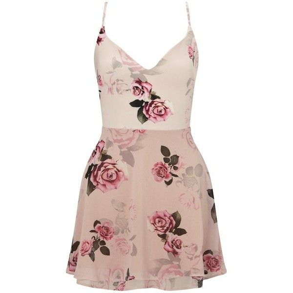 Ariana Grande For Lipsy Rose Print Layered Skater Dress ($71) ❤ liked on Polyvore featuring dresses, print skater dress, pink spaghetti strap dress, print dress, flower print dress and pink floral dress