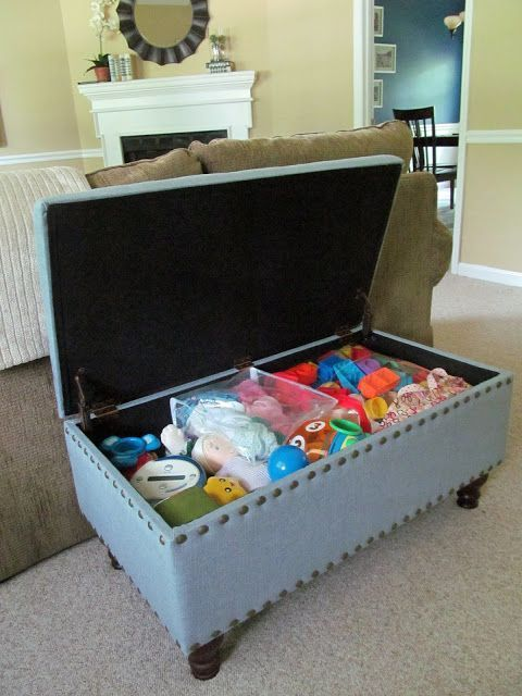 Organize The Kids Toys In Living Room With These Hidden Storage And Furniture Ideas Ottoman Coffee Table Bookshelves Cabinet Baskets