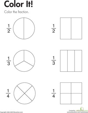 Fraction Practice Color It! Fractions, Fractions for