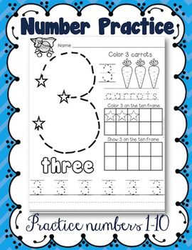 This is a great way to give kids extra practice with numbers 1-10. These worksheets encourage number identification, number writing, and counting. You might also like:Kindergarten Math Journals All Year