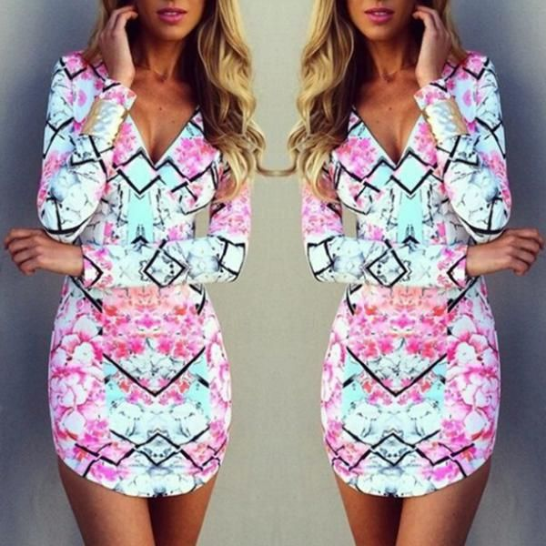 2015 new fashion women  pink and blue print dresses deep v-neck full sleeves sheath casual mini dress summer wear print dress