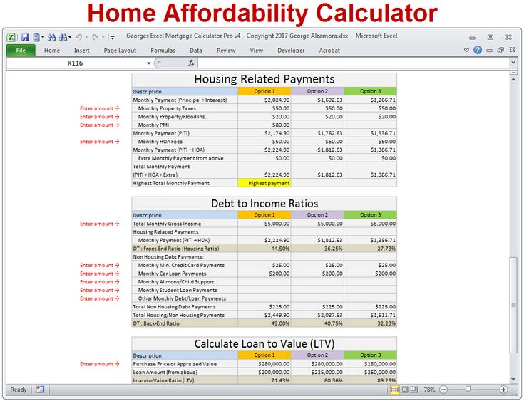 8 best Mortgage Calculator with Taxes Insurance PMI \ HOA Fees - amortization calculator excel